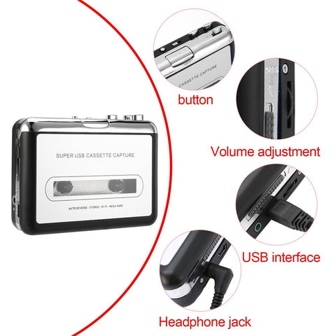 Image of Mini USB Audio Cassette Tape Converter to MP3, CD Player & PC