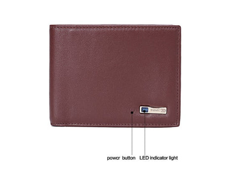 Image of Leather Smart Wallet with Alarm Bluetooth and GPS