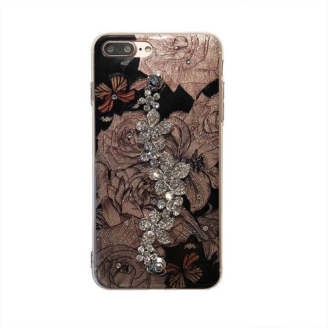 Image of Glitter Rose Crystal Case For iPhone