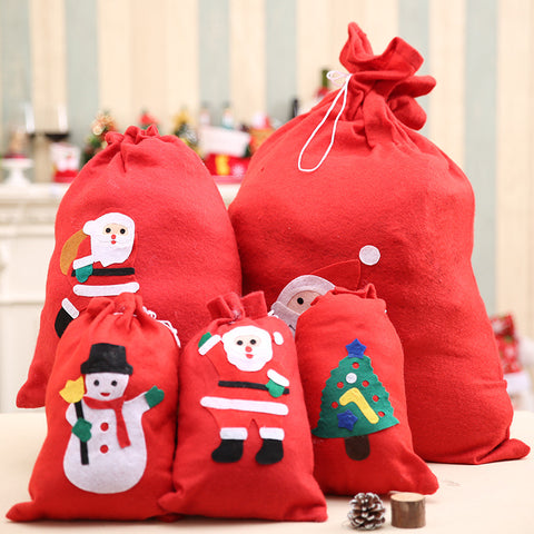 Image of Christmas Gift Bags Santa Claus Snowman