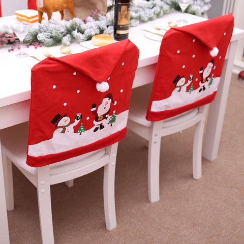 Image of Christmas Chairs Cover Santa Claus Cap
