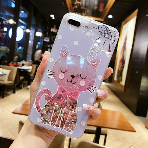 Image of Liquid Glitter Cat Perfume Bottle Quicksand Dynamic Case for iPhone
