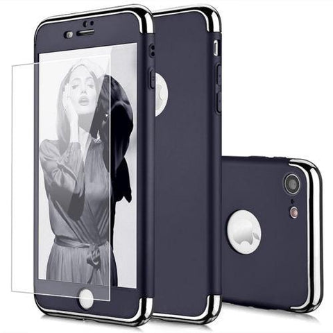 Image of Hybrid 360° Hard Thin Case + Tempered Glass For iPhone
