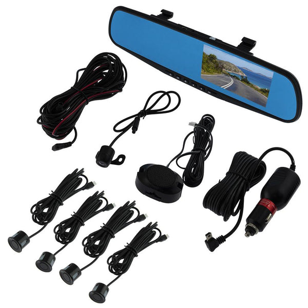 "REARVIEW MIRROR WITH 4.3"" HD LCD DISPLAY & BUILT-IN 1080P DASH CAM RECORDER & LICENSE PLATE REVERSE CAMERA AND BACK UP SENSORS"