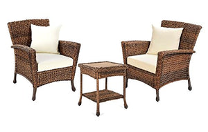 W Unlimited Rustic Collection Outdoor Furniture Light Brown Rattan Wicker Garden Patio Furniture Bistro Set, Lounger Deep Seating Sectional Cushions (3 Piece Set)