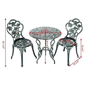 Set of 3 Pcs Outdoor Green Aluminum Bistro Patio Furniture Copper Rose Design w/Table & 2 Chairs