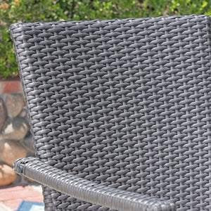 Great Deal Furniture Leyam Outdoor 3 Piece Wood and Wicker Bistro Set, Gray and Gray