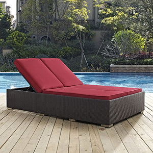 Modway EEI-2177-EXP-RED Convene Double Outdoor Patio Chaise, Red
