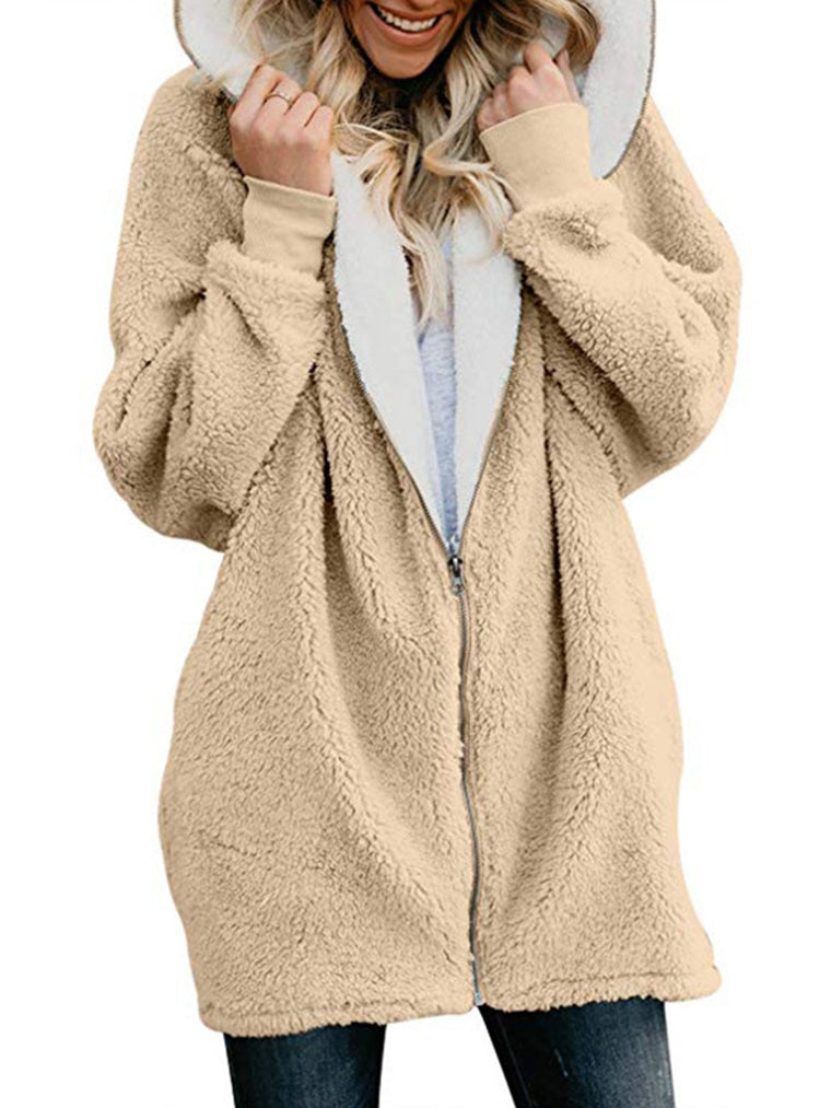 Womens Teddy Bear Coat Zipper Sweet Teddy Bear Jacket