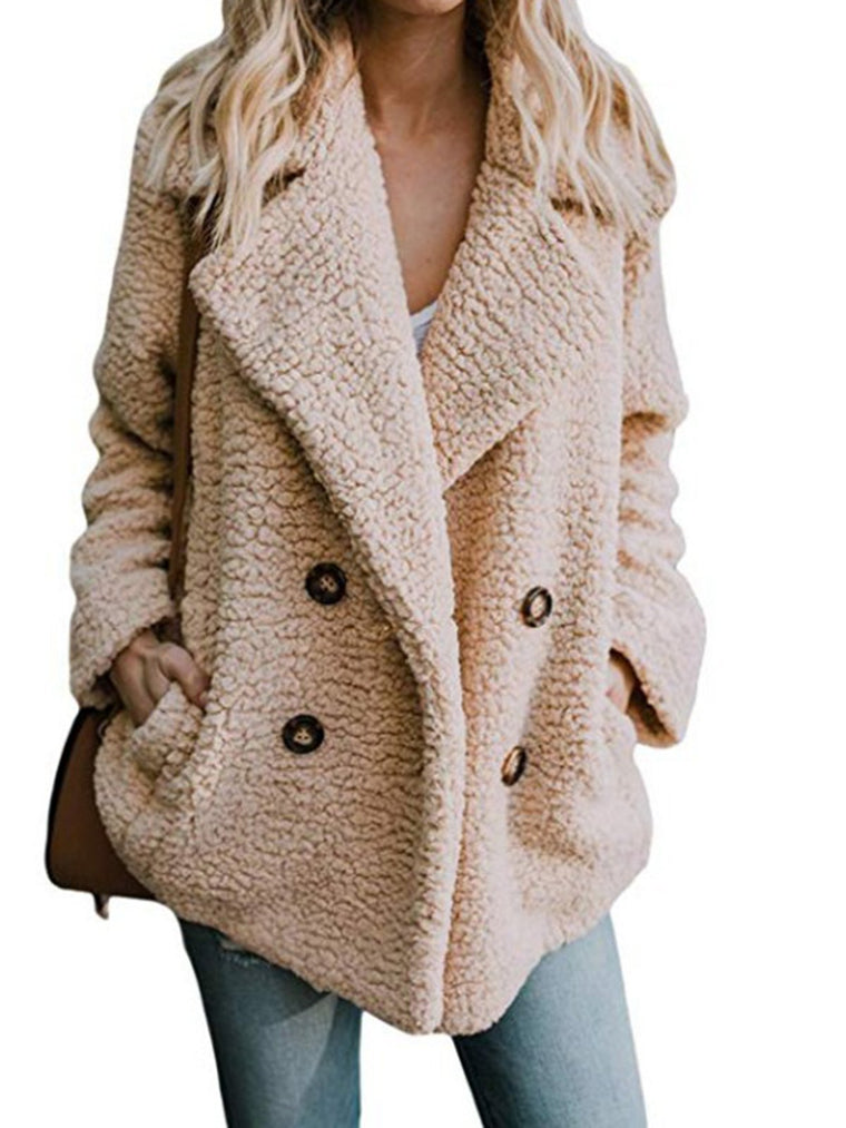 Women Solid Casual Winter Coat Shawl Collar Buttoned Teddy Bear Coat