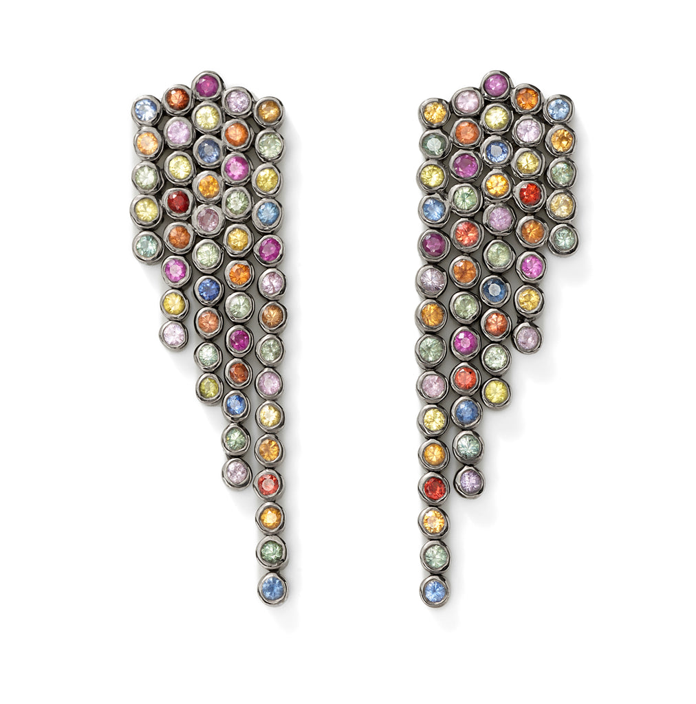 multi-sapphire fringe earrings