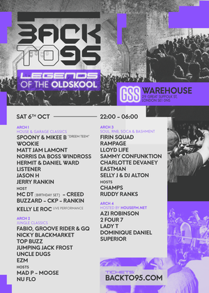 BACKTO95 WAREHOUSE PARTY - LEGENDS OF THE OLDSKOOL
