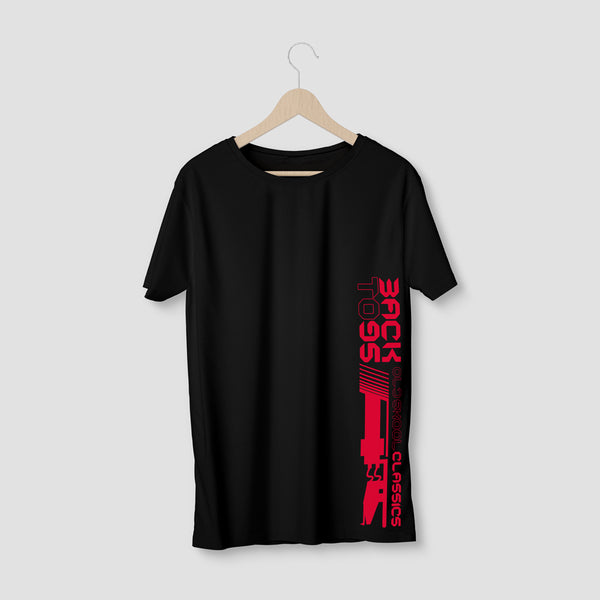 BackTo95 Tonearm Logo Tee - Black/Red