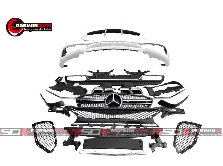 Darwin Pro - 2015 Mercedes Benz W205 C Class C63 AMG Front Bumper+Diffuser+Tip+Grill Body Kit