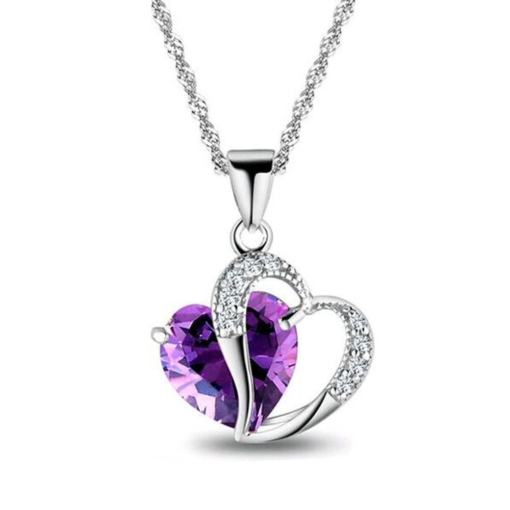 Crystal Jewelry Heart Pendant Necklace  6 Colors - shoppingridge