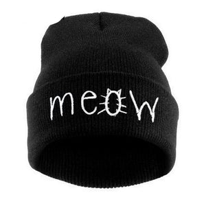 Meow Winter Hat For Women & Girls- Knitted Skullies - shoppingridge