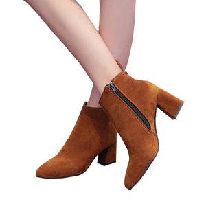 Thick High Heels LeatherAnkle Boots - shoppingridge