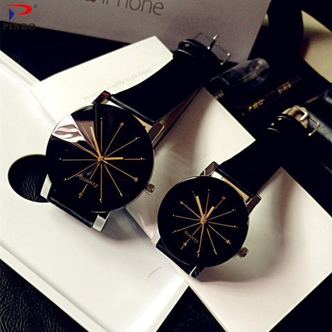Fashion Couple Quartz Leather Dial Hour Watches For Unisex - shoppingridge