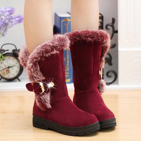 Luxury Fur Warm Mid Calf Buckle Snow Boots for Women - shoppingridge