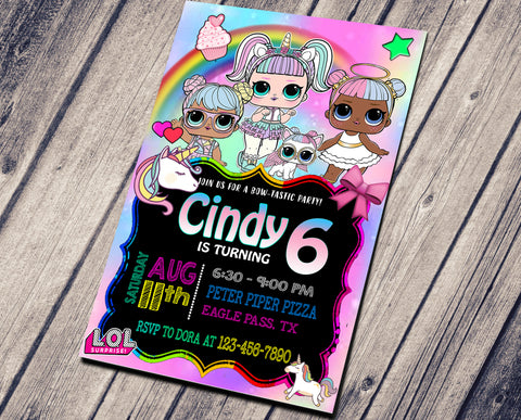 LOL SURPRISE DOLLS BIRTHDAY INVITATIONS
