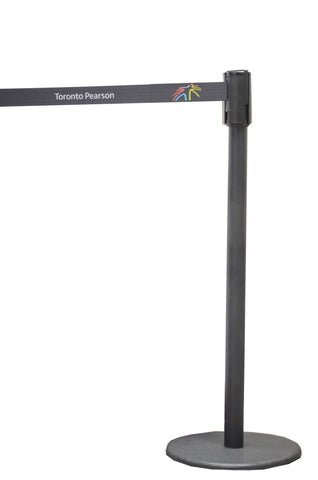 Magnetic retractable belt stanchion, pearson airport stanchion, crowd control solutions, black stanchion