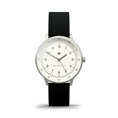 Black Leather Watch - Everyday Casual - Men's Women's - British Design - Newgate Blip WWMBLPVS056NK (front)