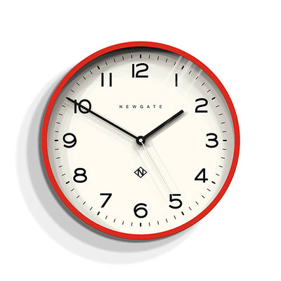 Modern Wall Clock - Bright Colour Red - Newgate Echo NUMTHR129FER