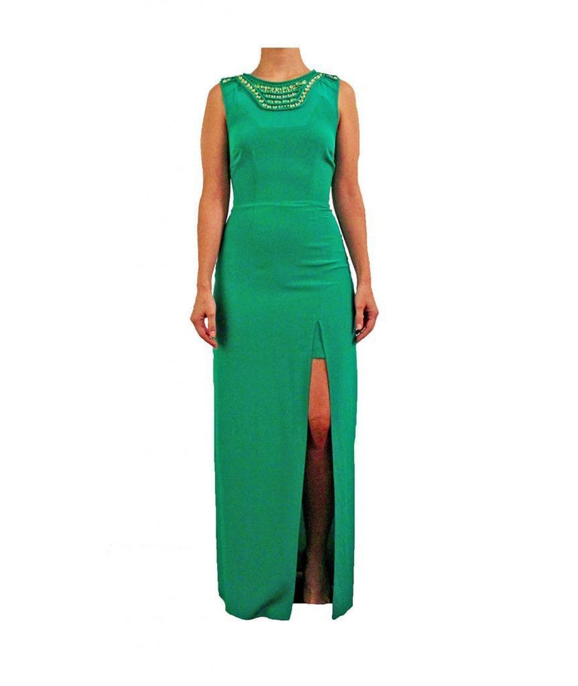High Slit Silk Beaded Dress