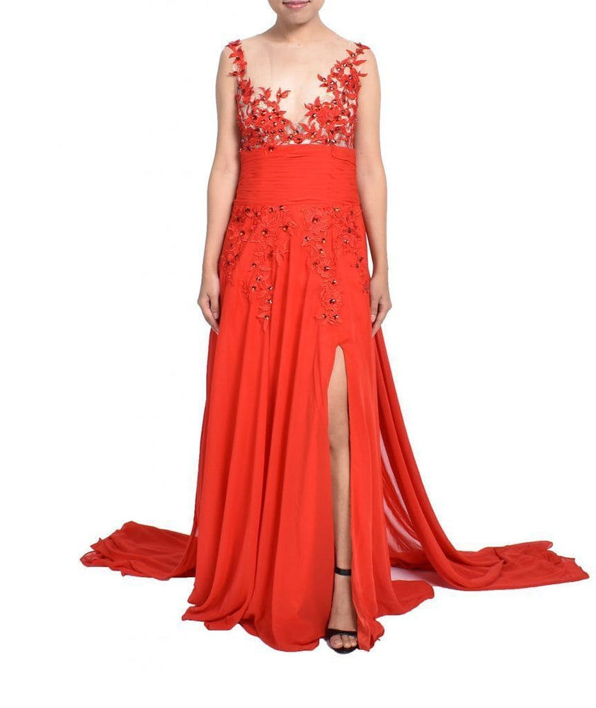 Handmade Red Lace Gown