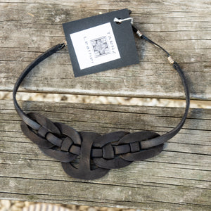 Leather Linked circles necklace