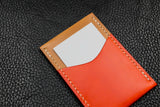 Italian Leather 2 Slot Card Wallet (Sand|Orange)