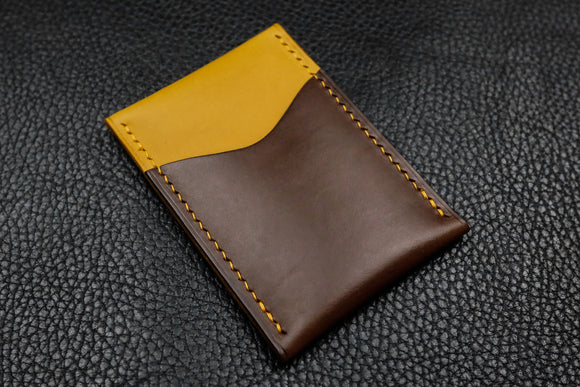 Italian Leather 2 Slot Card Wallet (Yellow|Espresso)