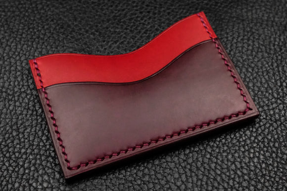 Italian Leather 3 Slot Card Wallet (Red|Burgundy)