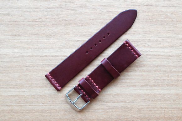RM: Italian Burgundy Unlined Leather Watch Strap (22/20)