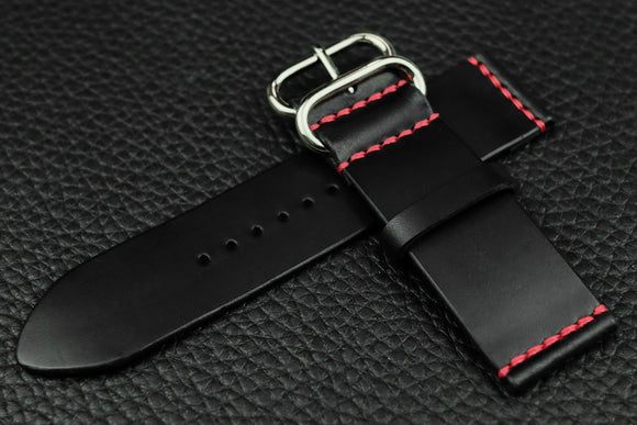 THOS Italian Black Unlined Leather Watch Strap