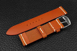 Italian Orange Unlined Top Stitch Leather Watch Strap