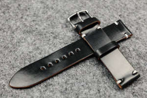 RM: Horween Shell Cordovan Black Unlined Watch Strap (20/20)