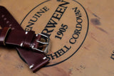 Horween Shell Cordovan Garnet Unlined Side Stitch Leather Watch Strap