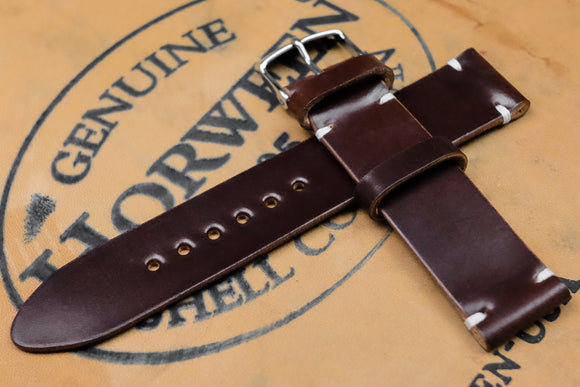 Horween Shell Cordovan No.4 Brown Unlined Side Stitch Leather Watch Strap