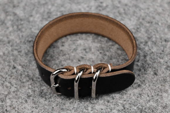 THOS Horween Chromexcel Black 3 Ring Pass Through Leather Strap