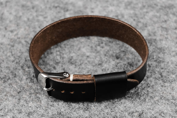 Horween Chromexcel Black Wide Pass Through Leather Strap