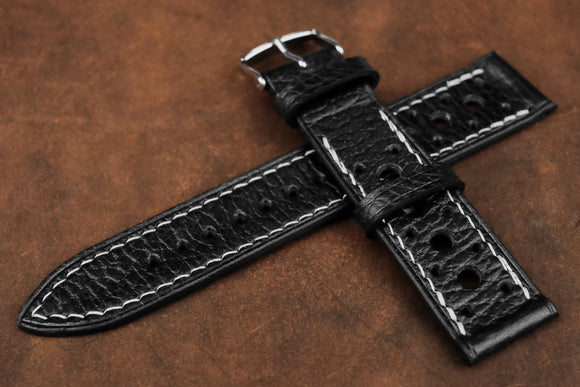 Italian Embossed Black Racing Leather Watch Strap