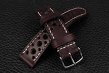 Italian Burgundy Racing Leather Watch Strap