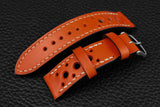 Italian Orange Racing Leather Watch Strap