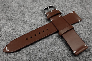 RM: Italian Espresso Side Stitch Leather Watch Strap (22/20)