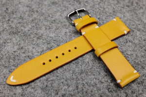 RM: Italian Yellow Side Stitch Leather Watch Strap (22/20)