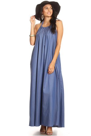 Denim Dreamer Halter Dress
