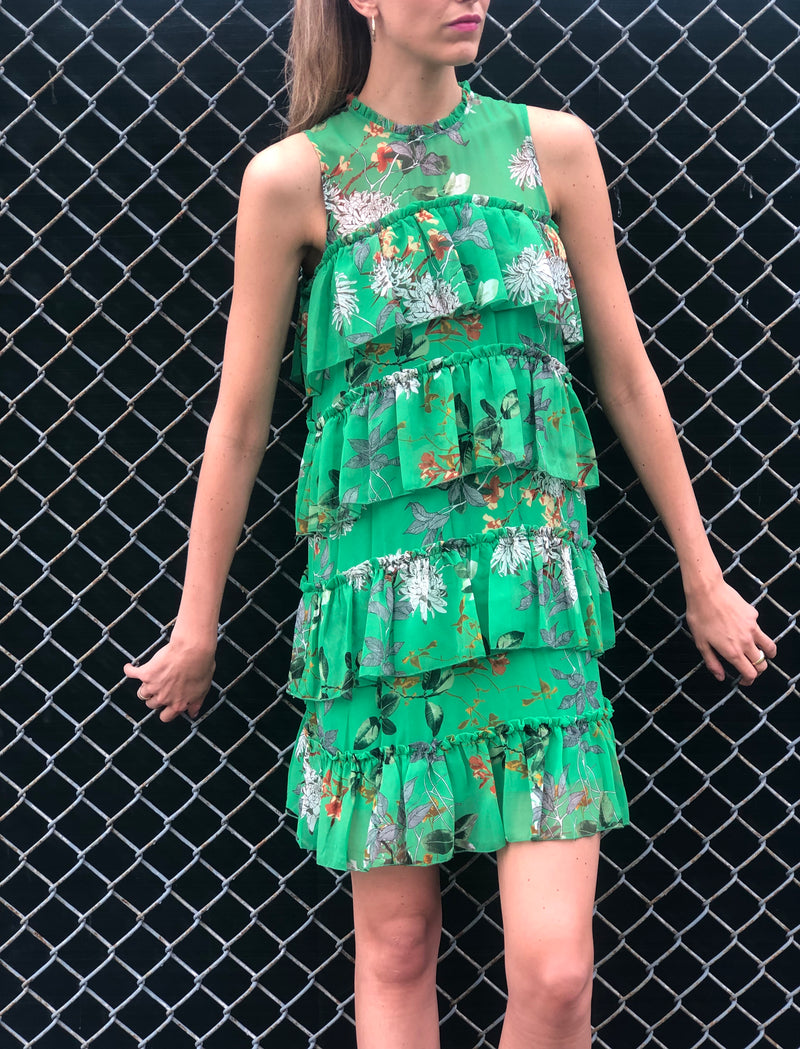 Sadie Ruffle Dress Green Floral
