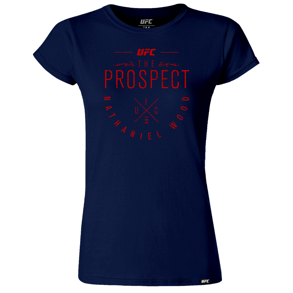 "Women's UFC Nathaniel ""The Prospect"" Wood Script Tee-Navy"