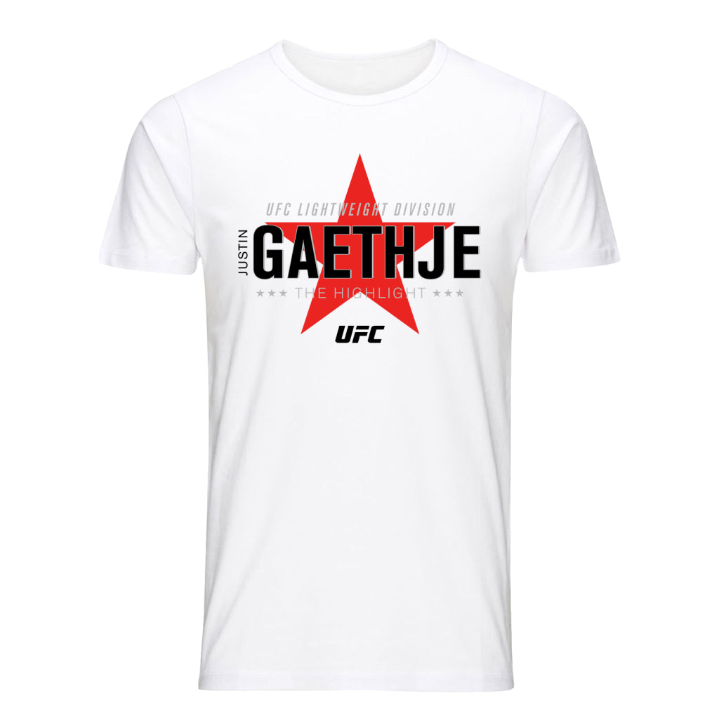 "UFC Justin ""The Highlight"" Gaethje Graphic T-Shirt-White"